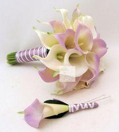 Lilac/Light Purple and White Calla Lily Bouquet Destination Wedding Bridal Bouquet Boutonniere Corsage PU Material