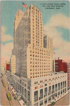 1947: Carew Tower, Netherland Plaza Hotel, Cincinnati, OH--vintage postcard