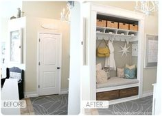 Before & After -Hall closet that was a dumping ground was enlarged by opening up the closet & space under the stairs & is now a useful space.