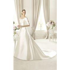 Glamorous A-line Satin Off The Shoulder Half Sleeve Floor-length Wedding Dresses(UKSCW03-417)