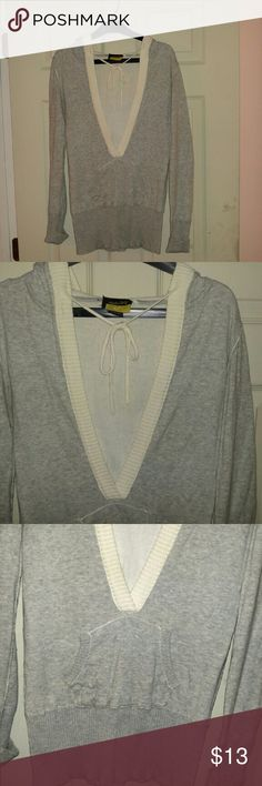 Hooded Sweater Tight fit, long. Low cut & meant to be worn over another top. Sweaters Crew & Scoop Necks