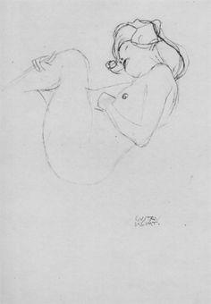 Female Nude with Bent Shanks Gustav Klimt Drawing, Study for Danae Oil Painting by Gustav Klimt Gustav Klimt, Klimt Art, Drawing Sketches, Art Drawings, Life Drawing, Amigos Online, Figure Drawing Reference, Vintage Artwork, Art Sketchbook