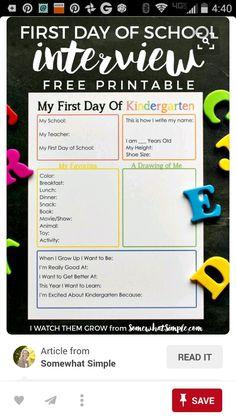 1 St day of school idea