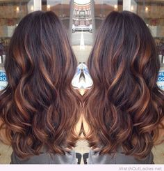 Lovely balayage technique over brown hair with caramel highlights