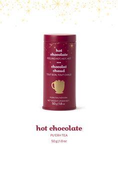 Hot Chocolate Skinny Tin - A rich and fudgy blend of pu'erh, black tea, cocoa nibs and chocolate. Tin Candles, Candle Jars, Davids Tea, Milk Products, Cocoa Nibs, Tea Tins, My Tea, Teas, Caffeine