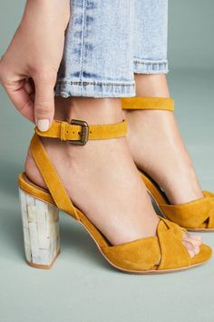 Shop the See by Chloe Ankle Strap Heels and more Anthropologie at Anthropologie today. Read customer reviews, discover product details and more, mustard yellow suede block heel sandals, mustard yellow shoes, mustard yellow suede ankle strap sandals with ivory heel,