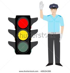 vector policeman showing ready to go gesture. red and yellow traffic light. - stock vector