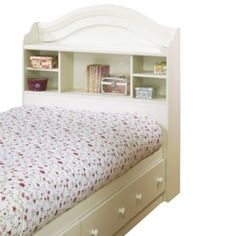 Lowest price online on all South Shore Summer Breeze Twin Bookcase Headboard and Storage Bed in White Wash - White Headboard, Bed Frame And Headboard, Kids Bed Frames, Bookcase Headboard, Lit Simple, Girls Bedroom, Girl Room, Bedroom Ideas, Bedrooms