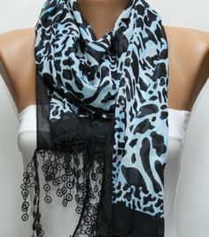 Leopard  Scarf -  Cotton Scarf Headband Necklace Cowl with  Lace Edge. $17.00, via Etsy.