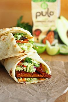 Marinated Tofu Naan Wraps with Avocado Lime Slaw - ilovevegan.com