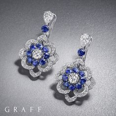 Beguiling Bloom - A delicate trail of pavé diamonds set with vivid sapphires form the outline of a vibrant rose in full bloom. The Rosette collection by Graff takes its name from the fragrant flower often associated with love, beauty and romance. Jewellery pieces within the collection feature sapphires, emeralds and rubies… which would you choose? #GraffDiamonds #Rosette