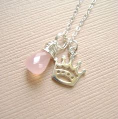 Crown Necklace Sterling Silver and pink by RachellesJewelryBox