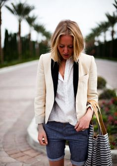 Blazers can make jorts classier? Plus striped bag. Perfect mix of casual + classy?