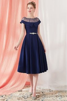 Shop Vintage Navy Blue Homecoming Party Dress Knee Length with Belt online. SheP… Shop Vintage Navy Blue Homecoming Party Dress Knee Length with Belt online. SheProm offers formal, party, casual & more style dresses to fit your special occasions. Best Prom Dresses, Dresses For Teens, Homecoming Dresses, Cute Dresses, Casual Dresses, Fashion Dresses, Girls Dresses, Bridesmaid Dresses, Formal Dresses