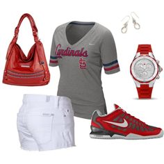 Cardinals (Nike Home Run Fan (MLB Cardinals) Women`s T-Shirt - Charcoal Heather, M $32)