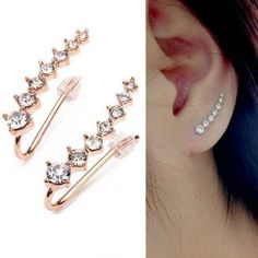 Pair Rhinestone Ladies Crystal Star Ear Piercing Cuff Earrings Gold Or Silver