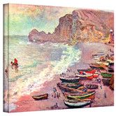Found it at Wayfair - ''Cliffside Boats'' by Claude Monet Painting Print on Canvas