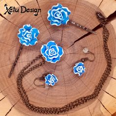 Rose set - handmade polymer clay flowers necklace earrings and hairpins by XetuDesign on Etsy Etsy Jewelry, Unique Jewelry, Polymer Clay Flowers, Clay Design, Handmade Polymer Clay, Hair Pins, Color Mixing, Washer Necklace, Opal