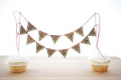 Birthday banner cake topper