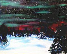 Sky Lights: Sky Lights Description: An acrylic painting of a starry, snowy night under the Aurora Borealis. Width: 20 inches… #IrishArt