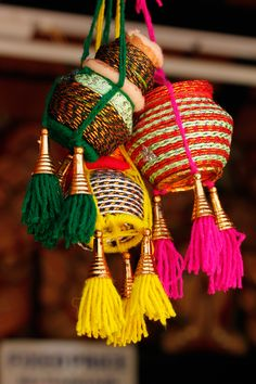 Colorful Handmade Indian Pots