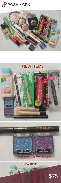 HUGE Drugstore Makeup Lot/Bundle! This is a huge lot of drugstore makeup! Brands include: physician's formula, wet n wild, e.l.f, burt's bees, NYX, pacifica, bath and body works, essence, ardell, and colourpop! About half is new half is used, and if it is used, there is still lots of product left, and all has been cleaned and sanitized!! Comment if you have any questions, I AM ACCEPTING ALL REASONABLE OFFERS! NYX Cosmetics Makeup