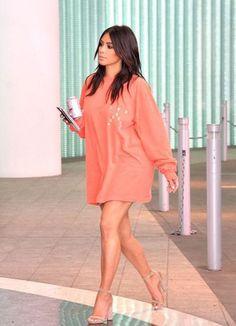 sweater oversized sweater kim kardashian sandals kardashians sweatshirt