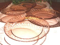 Arcoroc Pink Swirl Rosaline Clear Glass 6 Dinner Plates Made in France