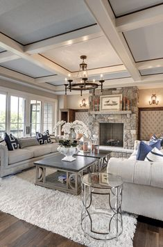 Beautiful - love the whole room. Sofa, fireplace, pillows & coffee table! #livingroomtables