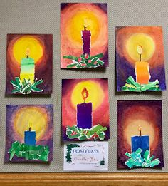 Candle Collage chalk pastel Art for kids Christmas Art Projects, Christmas Arts And Crafts, Winter Art Projects, Advent Art Projects, Diy Projects, Candle Art, Art Lessons Elementary, Chalk Pastels, Art Classroom
