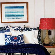 Love red, white and blue in a beach house...