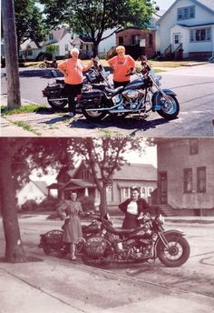 Clara Mayer and Adline VanVlanderen pose with their motorcycles in the 1940s and in 2003 when they returned to recreate the photo in Cudahy, Wisconsin.