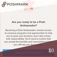 I've never accepted an invitation so quick I'm so happy to be a poshmark ambassador! Not quite sure what it means but thank you all for helping me get there! Accessories