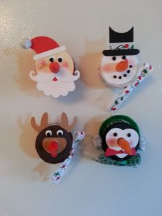 Set of 4 Santa Claus, Rudolph, Frosty the Snowman and Roly Poly Penguin LED Flameless Tea Light Ornament or Magnet with Red Light Up Nose