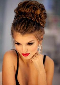Wedding Hairstyles Updo amazing-big-high-updo-with-a-braid-and-an-amazing-make-up - Popular Ladies Wedding Hair And Makeup, Hair Makeup, Hair Wedding, High Updo Wedding, Bridal Hair Updo High, Wedding Updo With Braid, Makeup Hairstyle, Pageant Hair Updo, Big Updo