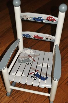 Items similar to Handpainted Rocking Chair-Kids Rocking Chairs-Rocking Chair-Nursery Furniture-Baby Shower-Toddler Gift-Airplanes-Cars-Trucks on Etsy Painted Kids Chairs, Painted Rocking Chairs, Painted Tables, Rocking Chair Nursery, Childrens Rocking Chairs, Painting Wooden Furniture, Kids Furniture, Nursery Furniture, Modern Furniture
