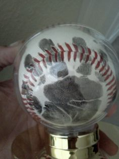 Baseball hand print as a godfather gift