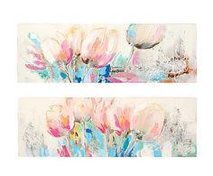 Set de 2 cuadros Flor - 150x50 cm