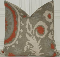 ETSY ON PILLOWS: Decorative Suzani Grey Red Arizona 18x18  Throw Accent Toss Pillow Cover - ON SALE