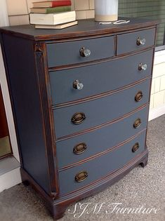 Beautiful antique dresser painted in steel gray chalk paint, distressed and sealed with clear wax by SJM Furniture #paintingfurniture
