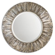 Foliage Layered Natural Distressed Silver Leaf Round Mirror