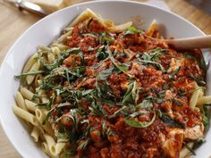Chicken Mozzarella Pasta recipe from Ree Drummond via Food Network | Variations: use any kind of pasta; pour 1/2 cup heavy cream into the sauce after adding the parsley; brown 1 lb ground beef instead of chicken. | Serve with: The Bread; Cheese Biscuits; Refrigerator Rolls.