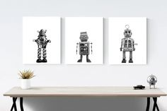 Title: Set of 3 Retro Robot and Rocket Wall art prints You get 3 photos or canvas in whatever size you choose from the drop down menu. 1. Robbie the Robot 2. Retro No.4 Rocket 3. Sparky the Space Robot These photos will be printed with love on premium finish photo paper that wont curl or yellow Car Prints, Wall Art Prints, Framed Prints, Boys Room Decor, Nursery Decor, Kids Room, Vintage Sports Nursery, Retro Robot, Boy Wall Art