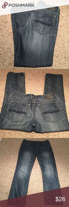 "Buffalo David Bitton 32X30 six basic Men's jeans worn once! Very nice shape with teensy start of fray on ends. ""Six basic"" ""slim straight"" W32 - L30. Great wash to these jeans. I cannot locate a tag with material but I feel strongly they are 100% cotton as they do not have stretch. No trades or holds Buffalo David Bitton Jeans Slim Straight"
