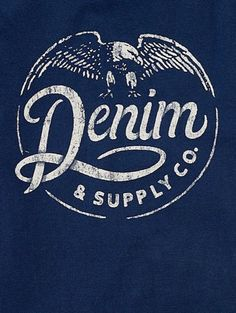 Rustic and grungy stamped logo for Denim & Supply Co. in Logo design Typography Letters, Typography Logo, Logo Branding, Typography Design, Branding Design, Cool Logos Design, Brand Identity, Rustic Logo, Design Graphique