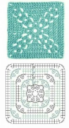 Crochet Motifs, Granny Square Crochet Pattern, Crochet Blocks, Crochet Diagram, Crochet Stitches Patterns, Crochet Chart, Crochet Squares, Love Crochet, Crochet Flowers