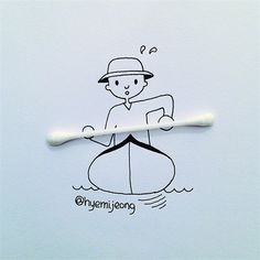 The Adorable and Clever Creations of Hyemi Jeong - Grundschule Art Drawings Sketches, Easy Drawings, Creative Illustration, Illustration Art, Art Mignon, Object Drawing, Creative Artwork, Simple Art, Art Plastique