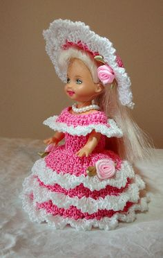 "Handmade Thread Crochet Kelly Doll Barbie Family Dress for 4.5"" Kelly or similar sized dolls"
