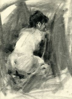 this is called Marissa by Jennifer McChristian. Medium is vine charcoal. I like the direction of the marks from the back ground. Especially the light and smooth out marks on the gluteous maximus.