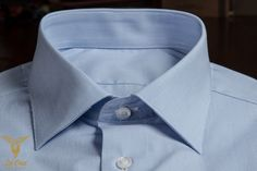 Blue Pinstripe Dress Shirt With Classic Collar And Double Button Bevelled Cuffs